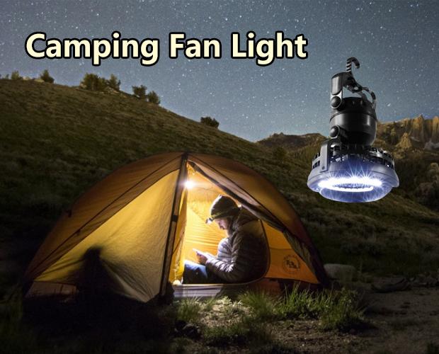 2 In 1 18 Led Camping Fan Light Lantern Tent Ceiling Fan