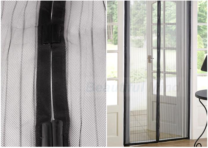 Oz Magnetic Door Curtain 2x Black Fly Screen Magic Magna