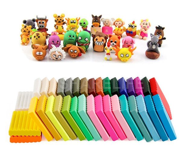 50pcs Craft Malleable DIY Fimo Polymer Modelling Soft Clay Block Set With Tools